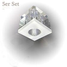 Kristallwürfel Deckenstrahler in Glas Würfelform GU4 Fassung Spot 5er Set Nr.23