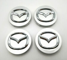 4PC Set 56mm Silver With Chrome Logo Wheel Center Caps Emblem Fit For Mazda