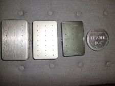 4- Vintage Aluminum Fly & Leader Boxes w/ Flies