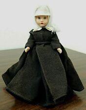 "Nancy Ann Storybook 6.5"" Plastic Nun Doll #82 w/Brown Habit, Missing Head Scarf"