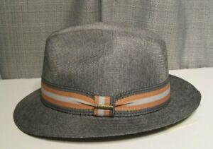 STETSON wallace ultra light fedora hat large grey