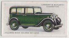 Hillman Minx Saloon De Luxe Classic British Auto Car 1934 Trade Ad Card