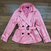 International Concepts Pea Coat Overcoat Jacket Womens M Pink Satin Downtown INC