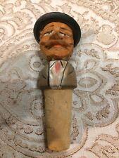 Vintage Carved Wood Anri Bottle Stopper Mustache Man 4�