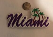 """""""MIAMI"""" VINTAGE IRON ON EMBROIDERED  PATCH. 5""""x 2"""" PURPLE! Nice!!"""