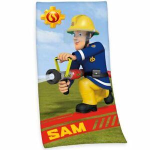 Badetuch | Feuerwehrmann Sam | 75 x 150 cm | Strandtuch | Handtuch Strandlaken
