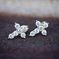 Small Mens Women's 14K Gold Lab Simulated Diamond Iced Cross Stud Earrings