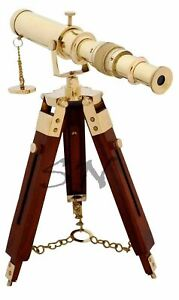 Shiny Brass Nautical Working Telescope with Tripod Vintage Spyglass Marine Decor