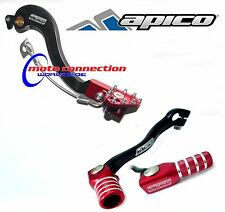 APICO RED/BLACK BRAKE PEDAL GEAR SHIFT LEVER COMBO HONDA CRF250 04-09 MOTOCROSS