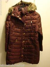 NWT Women MICHAEL Michael Kors Hooded Faux-Fur-Trim Puffer Coat BURGUNDAY L