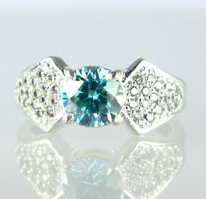 Very Shinny & Lustrous Blue Diamond Solitaire 3.45 Ct Round Ring With Accents