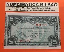 BILBAO EUZKADI 5 PESETAS 1937 BANCO DE VIZCAYA AUNC SPAIN Pick S.561 EUSKADI