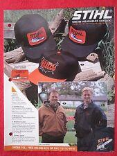 1995-96 STIHL CHAINSAW WEARABLES HATS, JACKETS, SHIRTS BROCHURE
