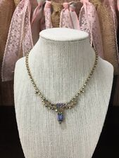 b Vintage AB Blue Purple Crystal Gold Tone Draped Tennis Necklace 16""