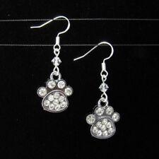*SJ1* Rhinestone Dog Cat Paw Charm Sterling Silver Dangle Earrings w/ Swarovski