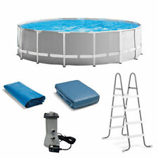 Intex 15 Foot x 48 Inch Prism Above Ground Swimming Pool Set & Ladder and Cover