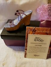 Collectible Just The Right Shoe By Raine Cork Wedge New In Box #25093