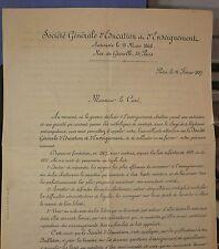 Lettre de l 'enseignement Catholique se défendant de l' enseignement laique 1887