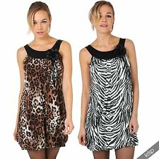 Women's Crew Neck Sleeveless Polyester Animal Print Dresses