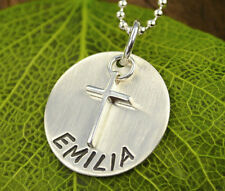Namenskette mit Kreuz Silber, Taufkette mit Gravur Komfirmation Kommunion
