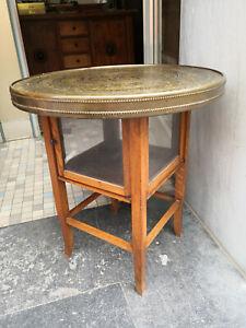 Art Deco Raucher-Tisch m.Vitrine Beistelltisch Teetisch Eiche mit Messing Platte