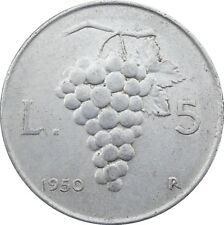 Italia Italy 5 Lire 1950 KM#89 Uva (it-15)