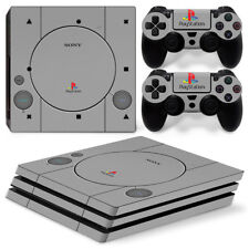[PS4 Pro]Skin Playstation 4 Sticker Kit Playstation One 1 Grey PS1 Retro Logos