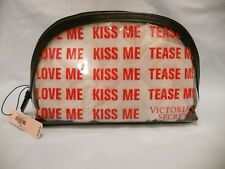 NWT Victoria's Secret Clear Make Up Case LOVE ME KISS ME TEASE ME Zip Top