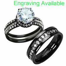 & Titanium Wedding Engagement Ring Set ch New listing His Hers 4 Pc Black Stainless Steel