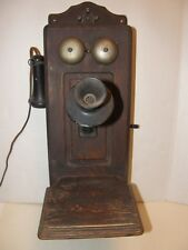 ANTIQUE KELLOGG WOODEN WALL PHONE,  WITH BELLS, CRANK, MICROPHONE & EAR PIECE