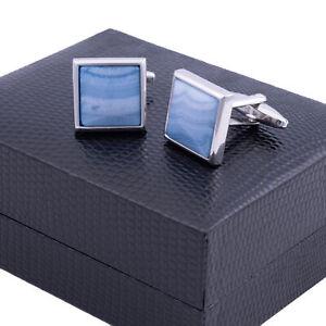 NWT KENSINGTON CUFFLINKS brass blue lace agate luxury made in England