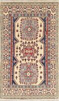 "NEW 3x5 Geometric IVORY Kazak Pakistan Oriental Hand-made Wool Rug 4' 5"" x 2' 8"""