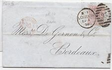 * 1878 BARCLAY BEVAN TRITTON LONDON BANK LETTER 2½d ROSY MAUVE PLATE 10 > FRANCE