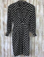 Gillian Petites Wrap Black White Polka Dot Silk Vintage Dress 2 S Small VTG