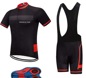 Regular, Big & Tall Men's Cycling Short Sleeve Bicycle Jersey Shirt + Bib Set
