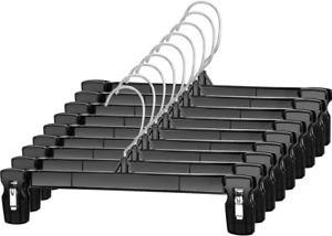 30 Pack 12inch Black Plastic Skirt Hanger With Non-Slip Big Clips Rotatable Hook