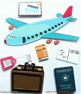 AIRPLANE TRAVEL Jolee's Boutique 3-D Stickers - Holidays Passport Plane Suitcase