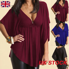 Ladies Womens Sexy V-neck Batwing Short Sleeve Tops Blouse T-shirt Plus Size