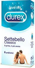 Preservativi Durex Settebello Classici Confezione da 6 Profilattici GEL omaggio
