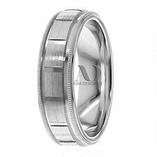 10K White Gold Square Grooved Pattern Milgrain Wedding Band Ring 6mm