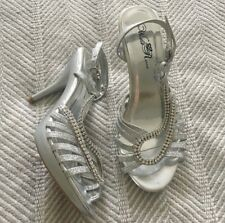 Wild Rose Silver Sparkly Rhinestone 6.5 Strappy Heels Formal Wedding Bridemaid