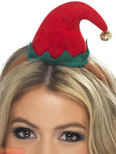 Adult Womens Mini Elf Hat on Headband Smiffys Christmas Fancy Dress Costume