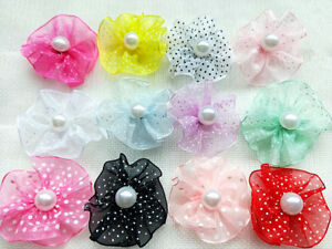 50PCS mixed  Pet Dog Accessories Grooming Hair Bows with pearl  For Dogs