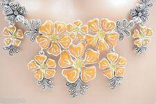 esmaltado Marcasita Collar Floral 925 Collar de plata plata esterilina