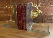 Pair of Bookends - Gold Stag Head - Glass