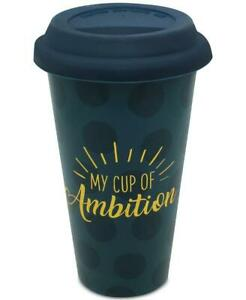My Cup Of Ambition Ceramic Travel Mug with Silicone Lid 14 oz