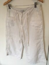 Next Ladies White Linen Blend Cropped Trousers Size 12 <SW716