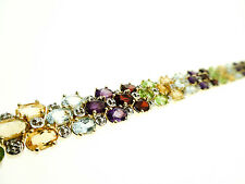 Wide Gold Sterling Silver Tennis Bracelet with Mulit Gemstones-8 Inches