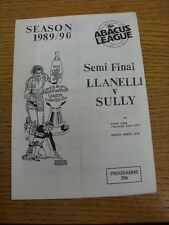 12/03/1990 Welsh League Cup Semi-Final: Llanelli v Sully [At Maesteg Park] (4 pa
