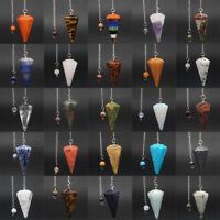 Mix Natural Gemstone Bonded Pendulum Point Pendant Healing Crystal Dowsing Tool